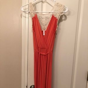 Lace Back Coral Maxi